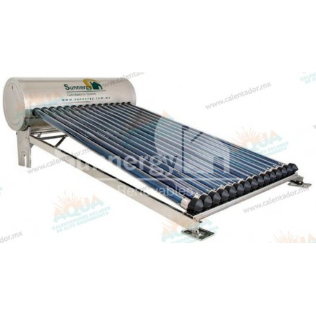 Calentador Solar 15 Tubos  Acero Inoxidable estructura corta